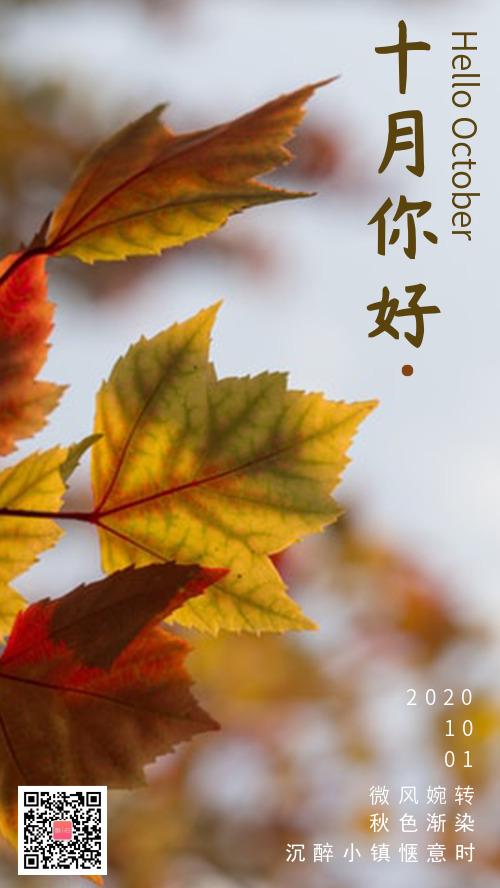 枫叶十月你好秋天你好心情个签
