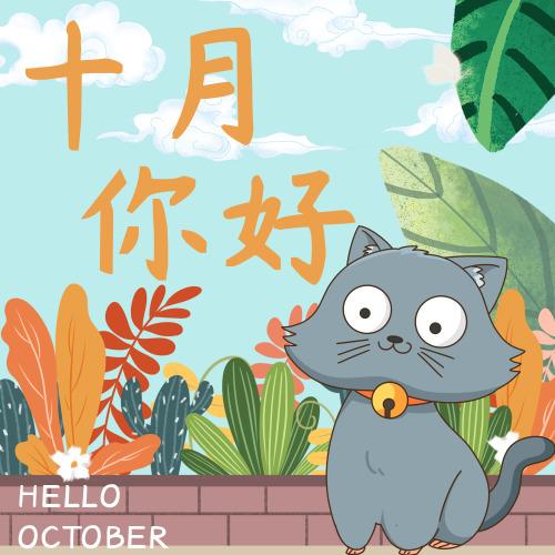 插画卡通猫咪十月你好公众号小图