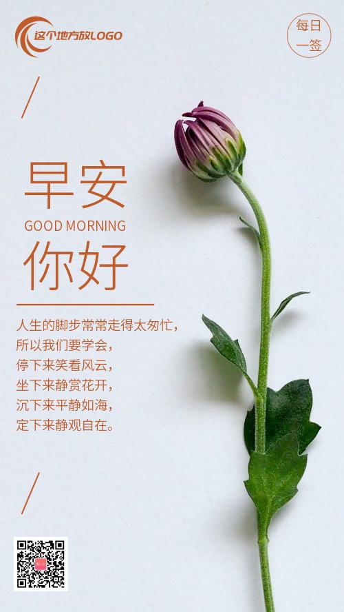 简约鲜花背景励志早安你好日签