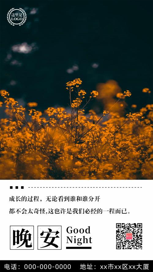 黄色花丛晚安日签