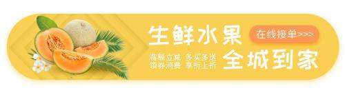 黄色生鲜水果外卖胶囊banner