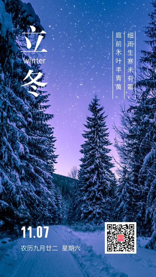 简约立冬传统节气海报