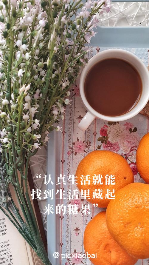 简约创意橘子咖啡手机壁纸