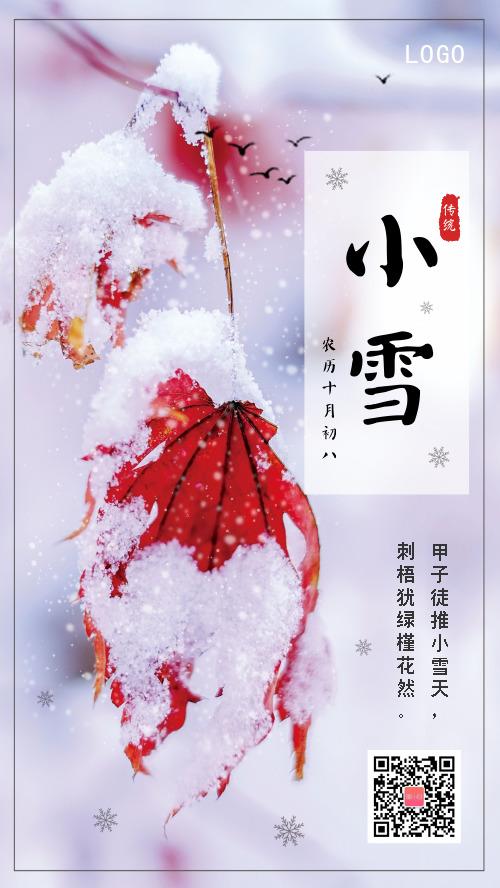 中国传统二十四节气小雪手机海报