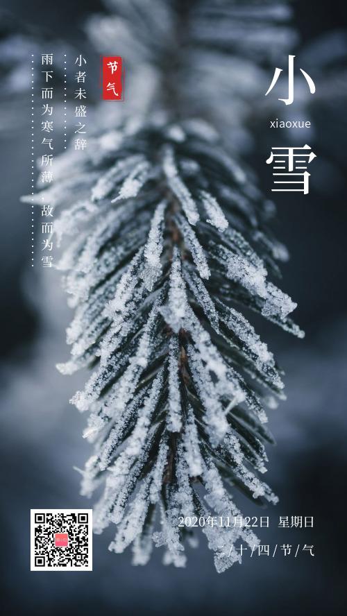 簡約小雪節氣宣傳海報