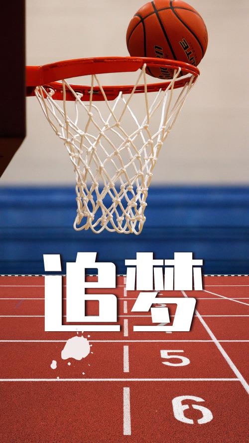 簡約籃球追夢企業文化宣傳海報