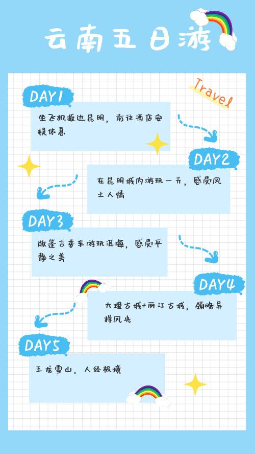 簡約藍色云南五日游手機海報