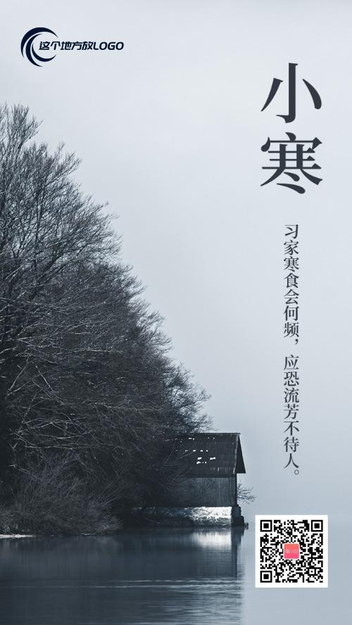 简洁烟雨天气寒冷小寒节气海报