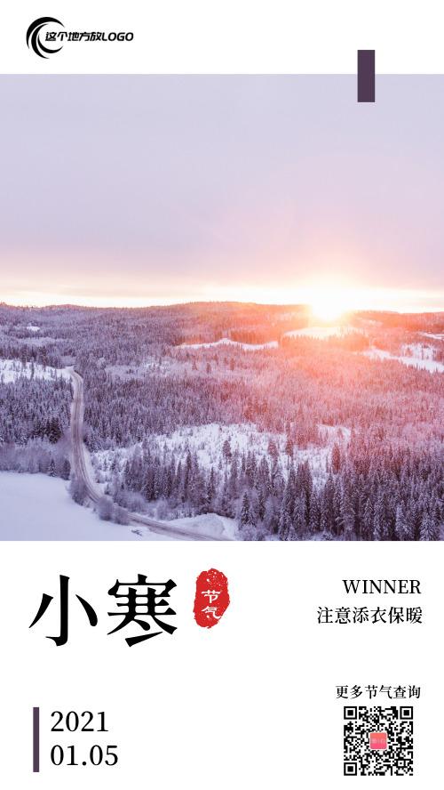 简约小寒二十四节气传统节气海报