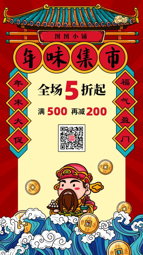 国潮风春节新年年货节促销海报
