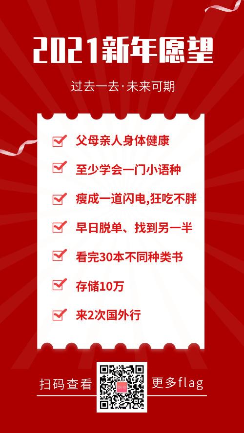 2021新年愿望清單手機海報