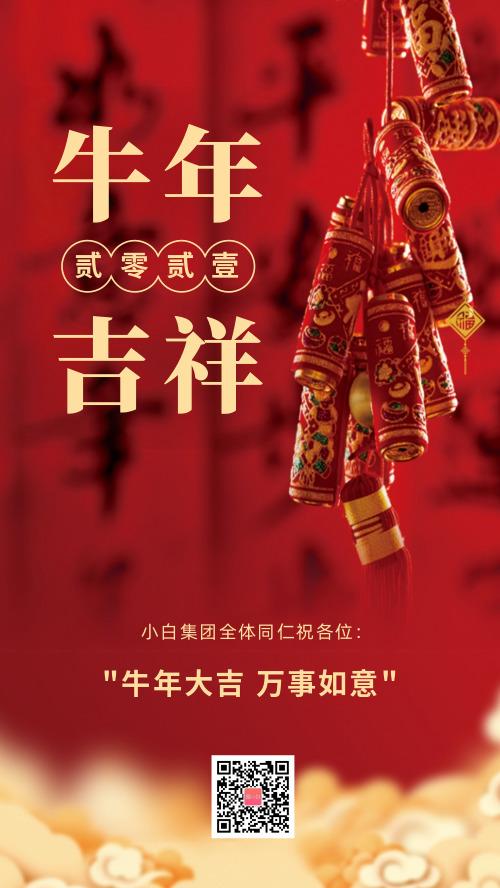 新年祝福新春春节贺岁海报