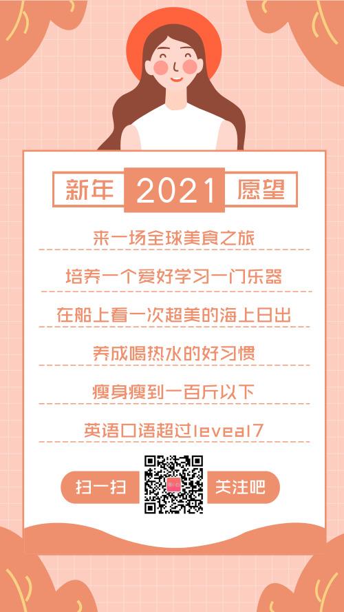 2021新年愿望清单手机海报