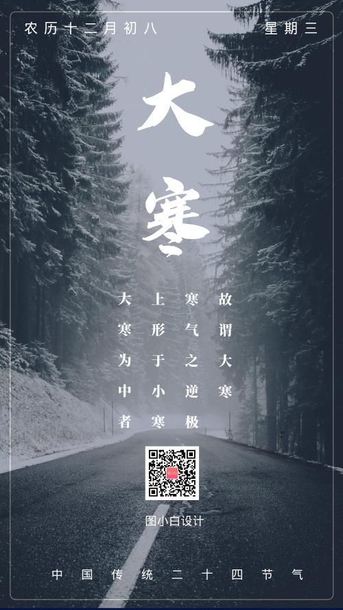 文藝清新傳統節氣大寒手機海報