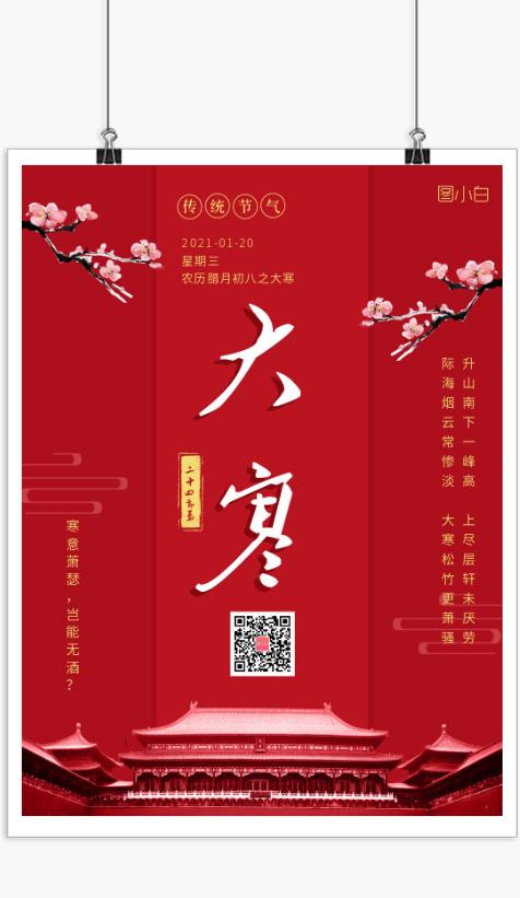 简约红色中国风传统节气之大寒海报