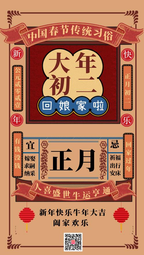 中国春节传统习俗大年初二宣传海报