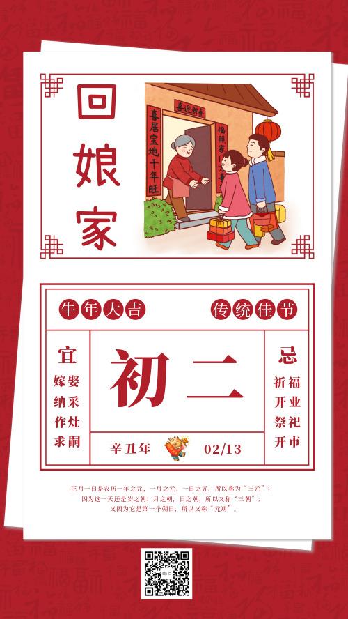 中国春节传统习俗大年初二回娘家宣传海报