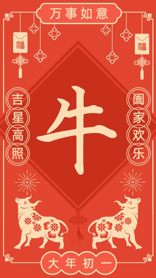 春节民俗大年初一海报
