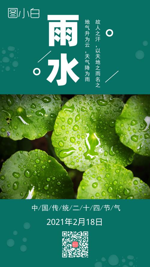雨水二十四節氣綠色清新手機海報