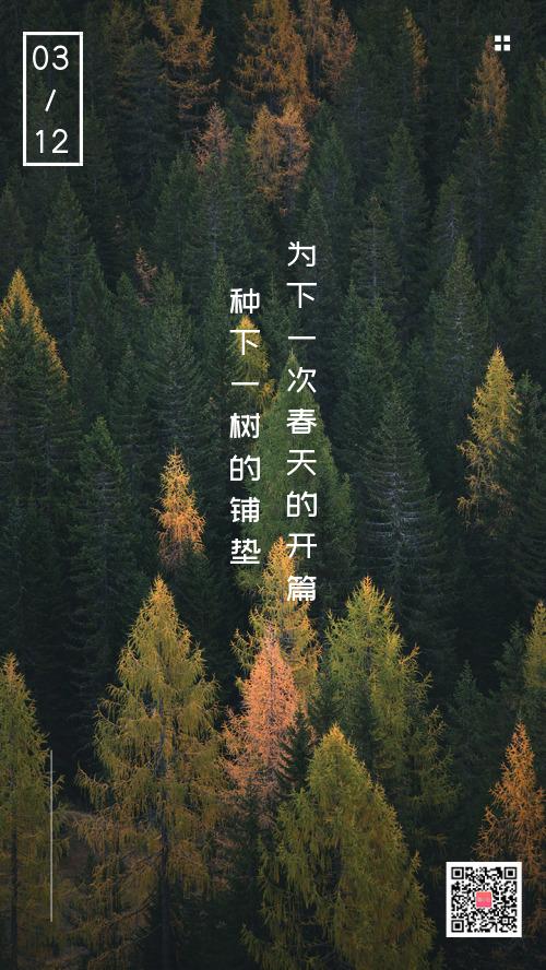 312植樹節攝影簡約手機海報