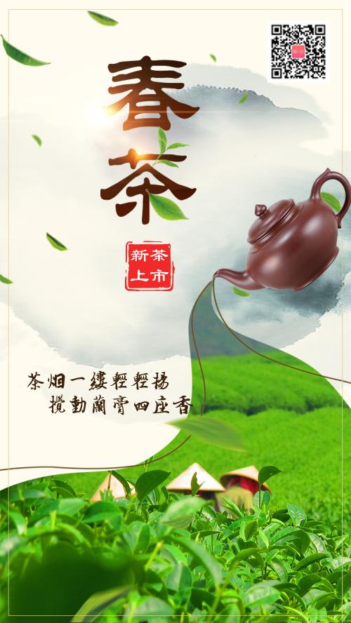 春茶上市宣传简约图文海报hs