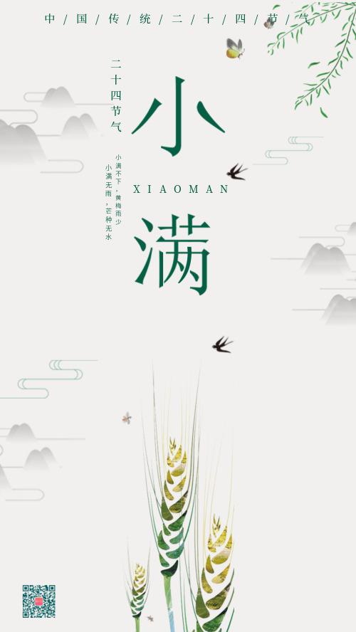 中国风传统节气小满简约海报DF